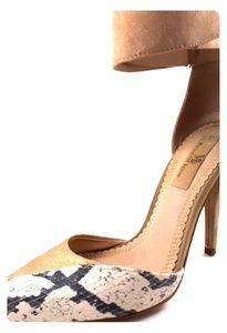 Tan Suede Heel with Snake Print & Wide Ankle Strap